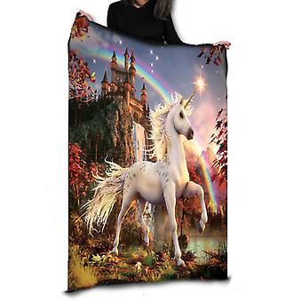Wild star hearts -magical unicorn - fleece / throw / tapestry