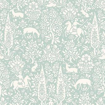 Animal Print Wallpaper Woodland Rabbits Dears Flowers Floral Birds