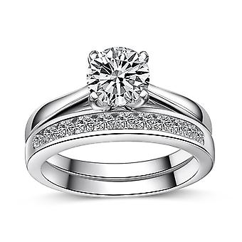 925 Sterling Silver Round Cut Solitaire Engagement Eternity Ring Set