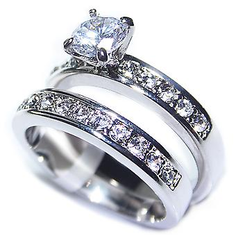 Ah! Jewellery Original Design Electroplated Rhodium Ring Band Set