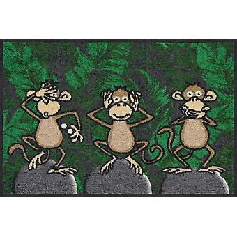 Salon lion doormat of three monkeys 50 x 75 cm washable dirt mat