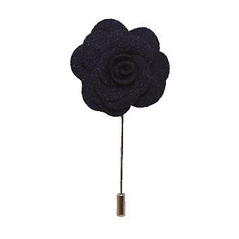 Marinblå handgjord blomma/Rose Lapel Pin för att bära med mäns kavaj, blazer, middag jacka eller smoking jacka