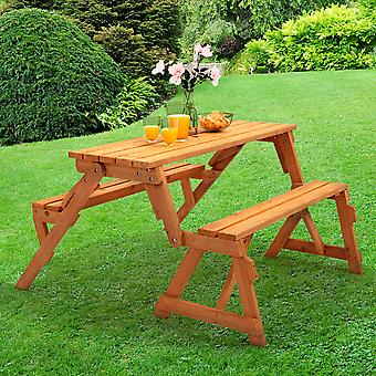 2-in-1 Convertible Folding Pub Picnic Table and Bench Seat with Parasol Hole
