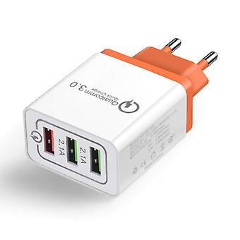 Stuff Certified® Qualcomm Quick Charge 3.0 Triple (3x) USB Port iPhone / Android Wall Charger Wall Charger Orange