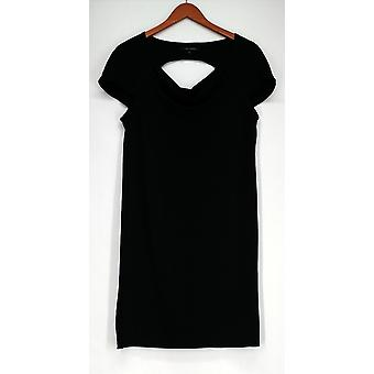 Nick Verreos Drape vestido decote w/Cut out back Black Womens A418210