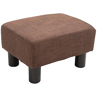 HOMCOM Linen Fabric r Footstool Foot rest Small Seat Foot Rest Chair Ottoman Light Brown Home Office with Legs 40 x 30 x 24cm