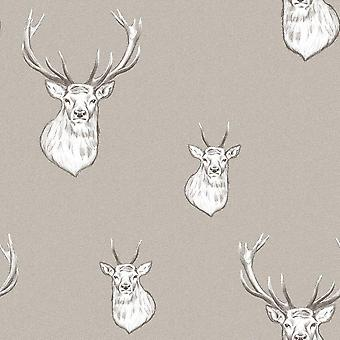 Catherine Lansfield Stag Wallpaper Stripes Lines Woven Effect Yellow Grey Taupe