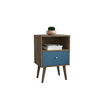 Manhattan comfort  liberty mid century - modern nightstand 1.0 with 1 cubby space and 1 drawer in rustic brown and aqua blue