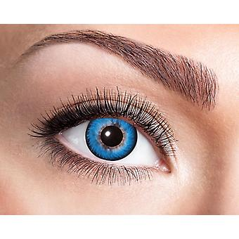 Natural contact lens intense blue with a broad black border