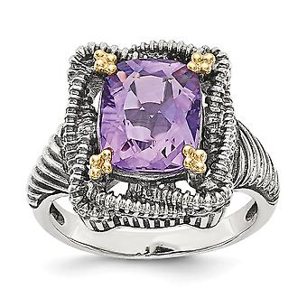 925 Sterling Argent Avec 14k Amethyst Ring Jewelry Gifts for Women - Ring Size: 6 to 8