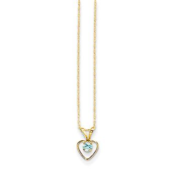 14k Yellow Gold Polished Spring Ring 3mm Blue Zircon Heart for boys or girls pendant 15 Inch Measures 10x6mm