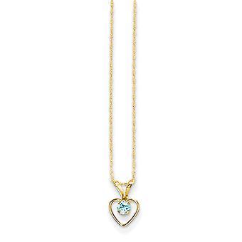 14k giallo oro lucido primavera anello 3mm blu zircone cuore per ragazzi o ragazze pendente - 15 pollici - misure 10x6mm