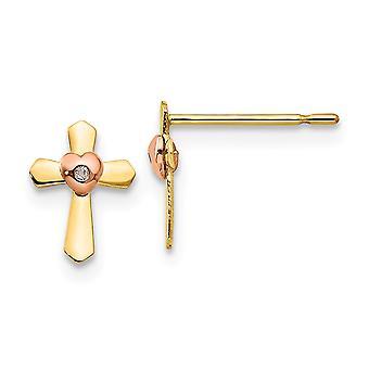 14 k Madi K gul och Rose guld för pojkar eller flickor Cross hjärtat Post örhängen -.3 gram