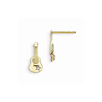 14k Yellow Gold Madi K CZ Cubic Zirconia Simulated Diamond for boys or girls Guitar Post Earrings