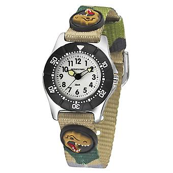 JACQUES FAREL Kids Wristwatch Analog Quartz Boys Textile Ribbon KWD 4111 T-Rex