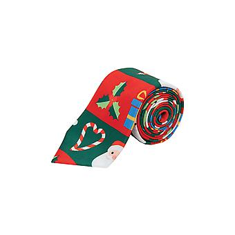 Dobell Herre rød og grøn jul slips