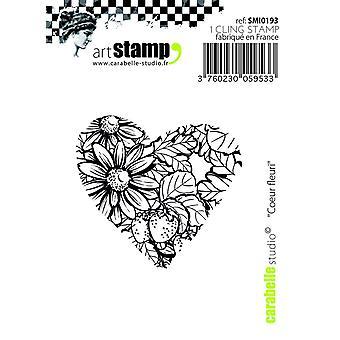 "Carabelle Studio ""blommig Hearts"" Cling stämpel, vit/Transparent, Mini"