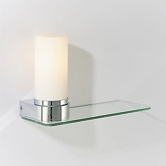 Endon Tal 1 Light Badezimmer Wandleuchte Chromplatte & weiß Glas IP44 79920