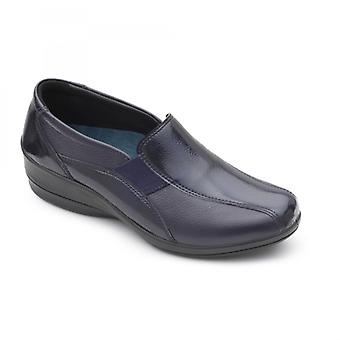Padders Skye 2 Ladies Leather Wide (e/2e) Shoes Navy