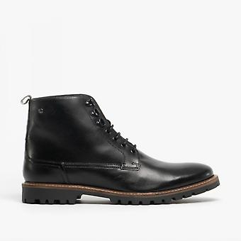 Base Londen Callahan mens Leather enkellaars Waxy zwart