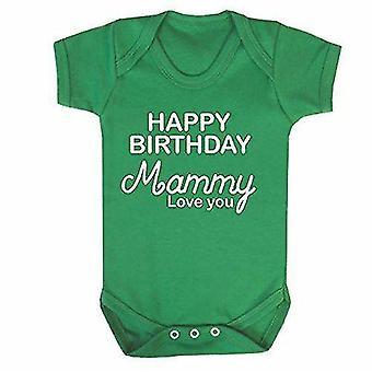 Happy birthday mammy green short sleeve babygrow