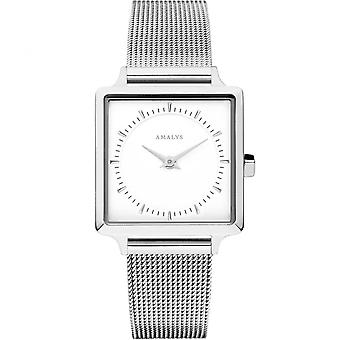 Amalys CLAIRE - Stahl Stahl Mesh Frau White Dial Armbanduhr