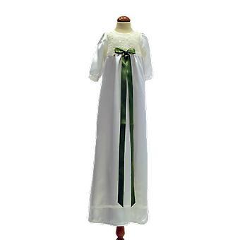 Dopklänning I Off White Med Lång ärm, Kjus Olivgrön Rosett