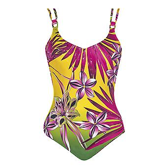 Sunflair 22279-63 Women's Botanical Paradise Yellow Floral Underwired Low Back Swimsuit