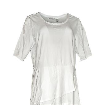 Isaac Mizrahi Live! Frauen's Top Ellenbogen Ärmel Peplum Flounce weiß A303962