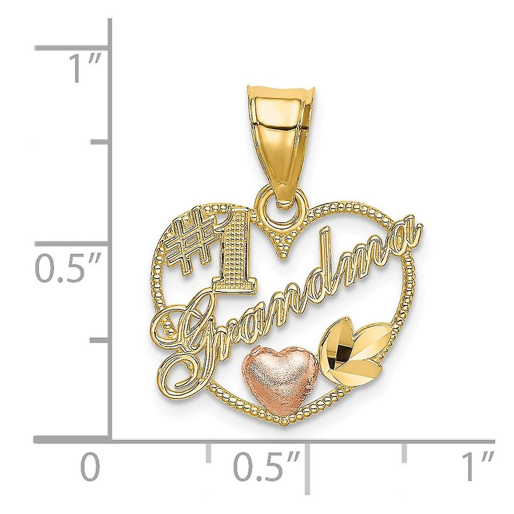 16mm 14k Two tone Gold Number 1 Grandma In Love Heart Pendant Necklace Frame With Pink Heart Jewelry Gifts for Women