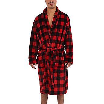 Wanted Men's Family Matching Shawl Collar Pluche Micro Fleece Bathrobe (Red Bu...