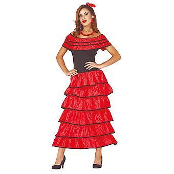 Womens Flamenco Dancer Fancy Dress Costume