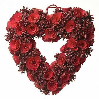 Heaven Sends Red Pinecone Rose Heart Christmas Wreath