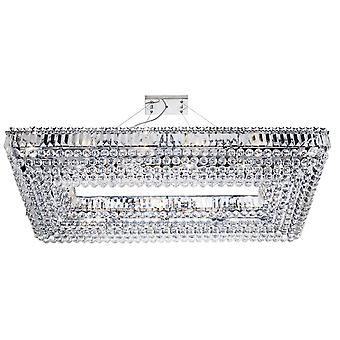 Vesuvius Chrome And Crystal Rectangle Ceiling Light - Searchlight 8382CC