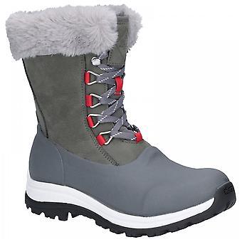 Muck Boots Ladies Waterproof Grey Red Arctic Apres Leather Vibram Grip Short Boots