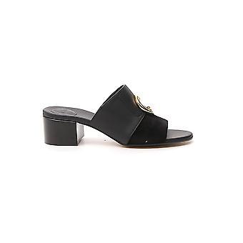 Chloé Chc19u18991001 Women's Black Leather Slippers