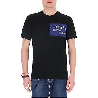 Z Zegna Vu372zz630p6p1 Men's Blue Cotton T-shirt
