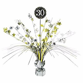 Amscan Sparkling Gold Celebration 30th Birthday Centrepiece Spray Decoration