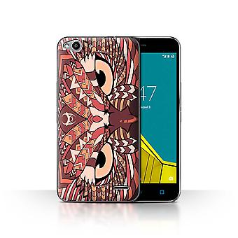 STUFF4 Case/Cover for Vodafone Smart Ultra 6/Owl-Red/Aztec Animal Design