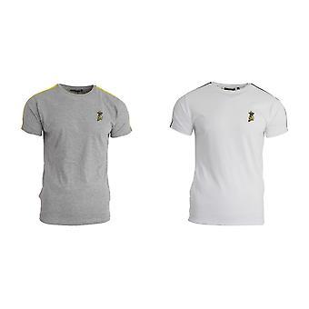 Tapfere Seele Herren Seite Streifen T Shirt mit Banane Stickerei Design