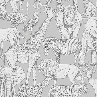 Jungle Animals Wallpaper Grey Graham and Brown 108567