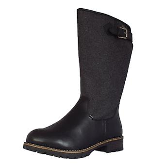 Jana Le Havre Fashion Fleece Lined Long Boots In Black And Grey Textile