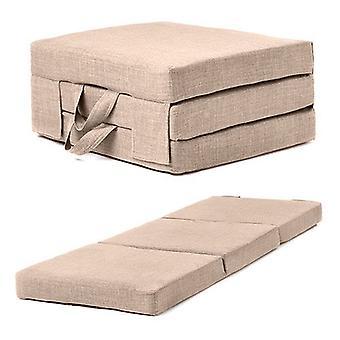Diversão!ture | Colchão dobrável de espuma portátil único com alças de transporte em tecido de estofamento de efeito de linho. Colchão de Hóspedes dobra para armazenamento (Areia)