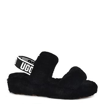 UGG Oh Yeah Black Fluff Slide