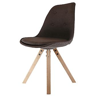 Fusion Living Eiffel Inspired Brown Fabric Dining Chair With Square Pyramid Light Wood Legs