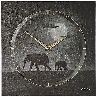 AMS 9524 wall clock kvartsi liuskekivi luonnon liuskekivi liuskekivi kello hopea norsu