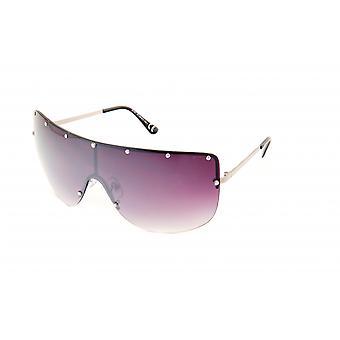 نظارات شمسية المرأة مستطيلة فضية رمادية / البنفسجي (20-007)