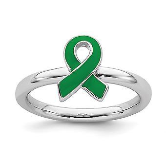 925 סטרלינג כסף מלוטש מוערם ביטויים ירוק מודעות מודעות טבעת טבעת מתנות לנשים - טבעת S