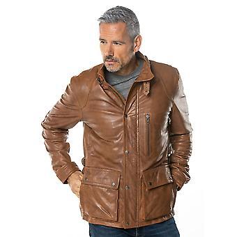 David Leather Coat in Dark Cognac