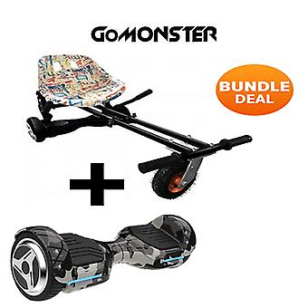 """6.5"""" G PRO Camo Bluetooth Hoverboard with Go Monster Hoverkart in Graffiti"""